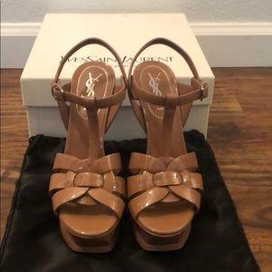 YSL Tribute Platform Sandal Nude Patent